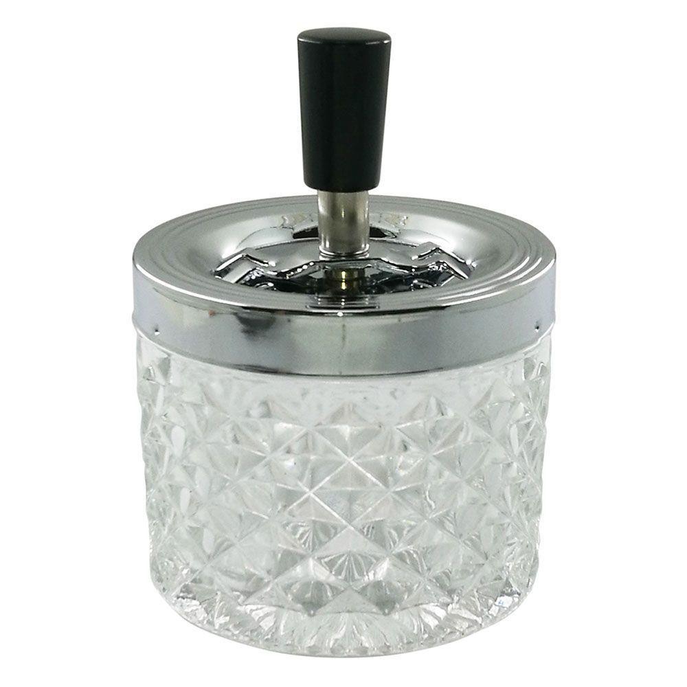 Cinzeiro Ornamental de Vidro Losangos Transparente