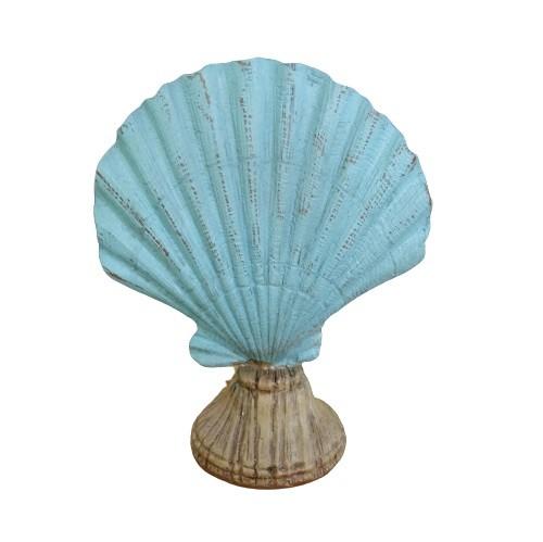 Concha Decorativa em Resina Azul 17cm