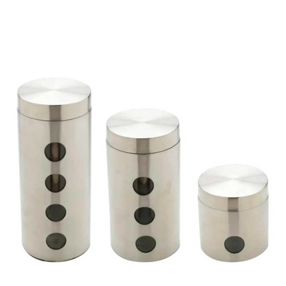 Conjunto 3 Porta Mantimentos de Aço inox com Tampa e Fundo de Vidro Bon Gourmet