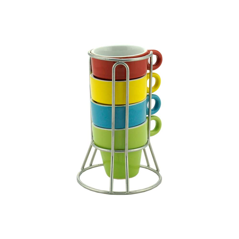 Conjunto 4 Xícaras de Café de Porcelana com Suporte Coloridas 60ml