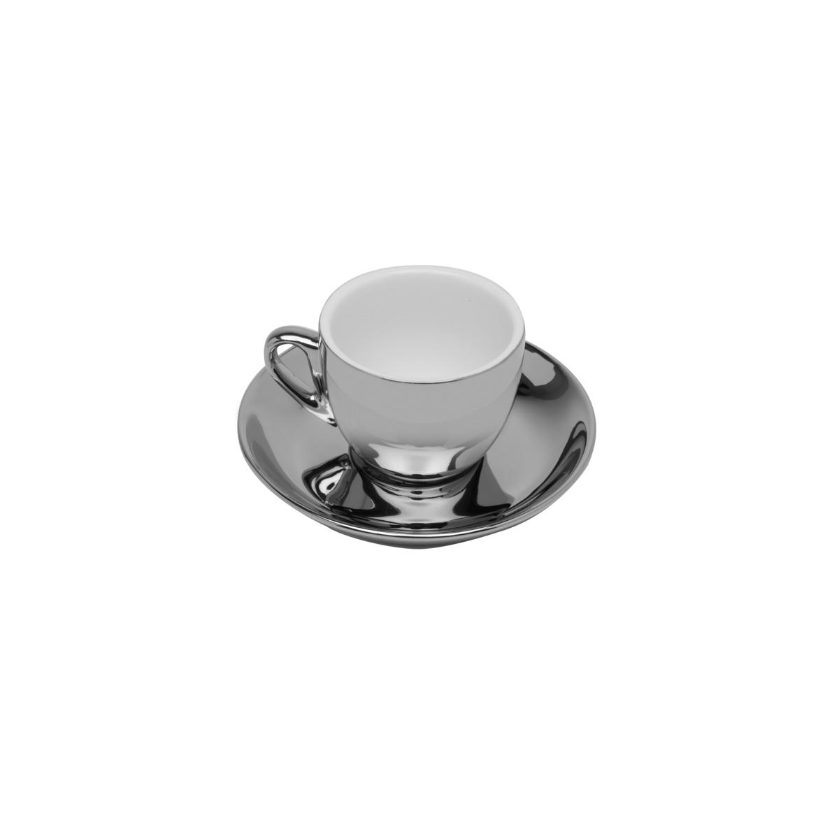 Conjunto 6 Xícaras de Café com Pires de Porcelana Versa Prata e Branco 90ml