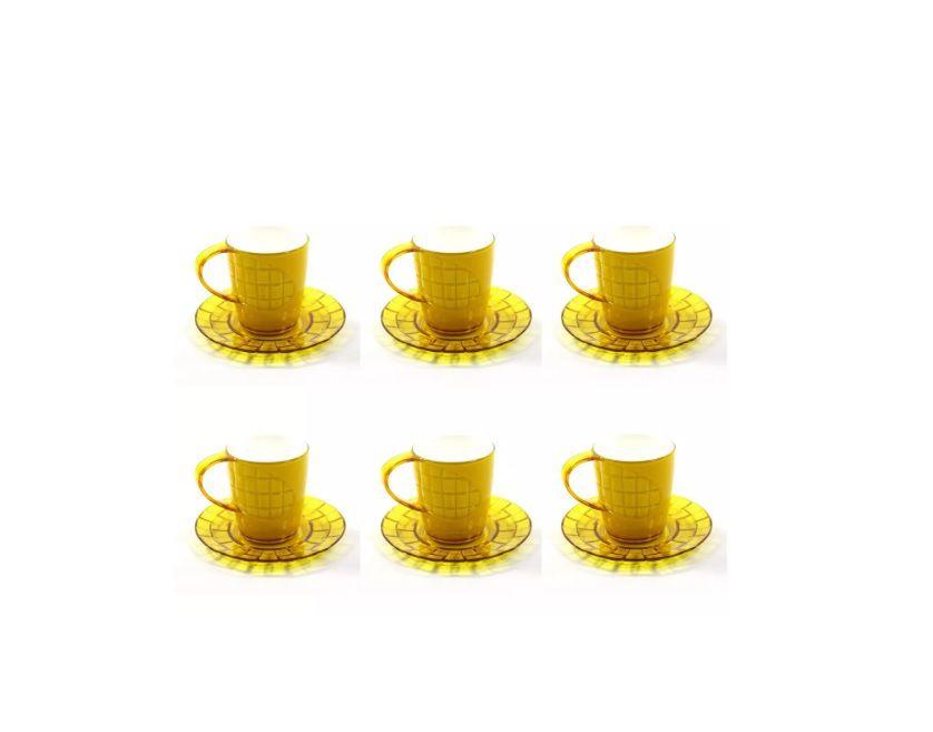 Conjunto 6 Xícaras e Pires 80ml Translúcido Branco/Amarelo