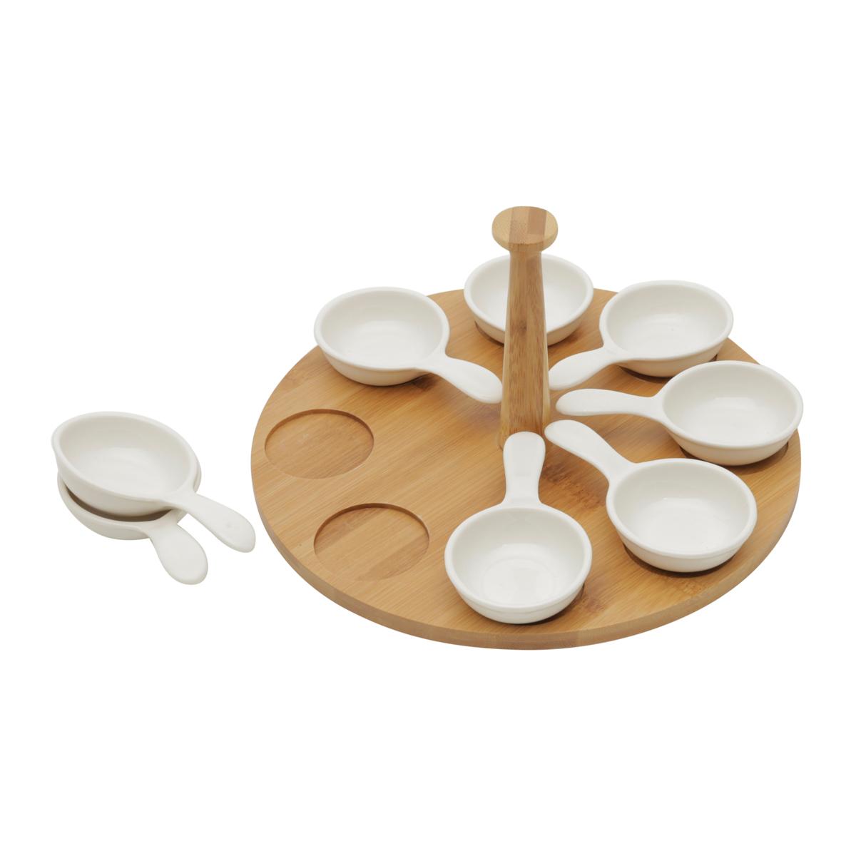 Conjunto 8 Petisqueiras Porcelana com Suporte Bambu 25x25x13cm