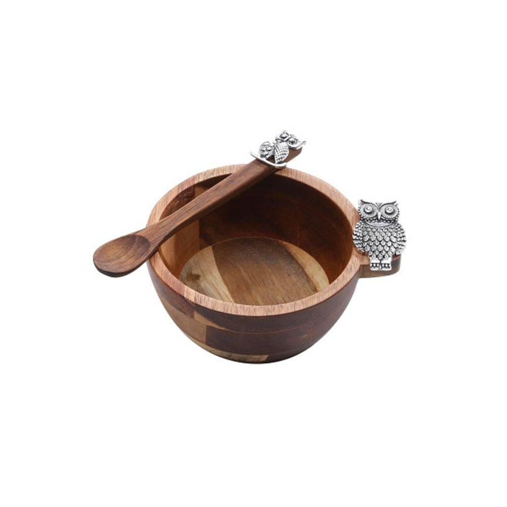 Conjunto Bowl de Acácia e Colher de Pau com Detalhe Coruja
