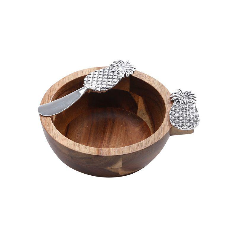 Conjunto Bowl de Madeira e Espátula de Zamac com Detalhe Abacaxi