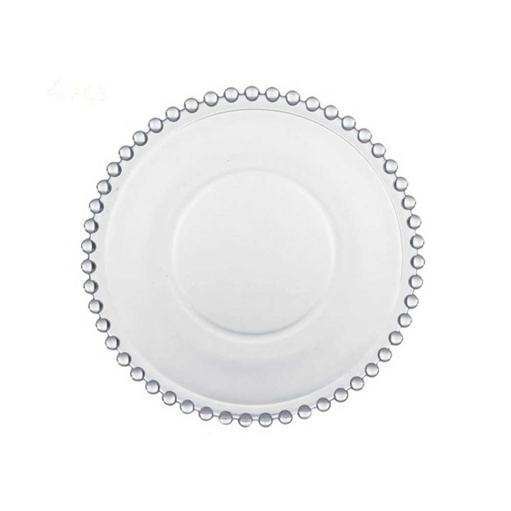 Conjunto de 04 Pratos de Cristal Sobremesa Pearl 20cm