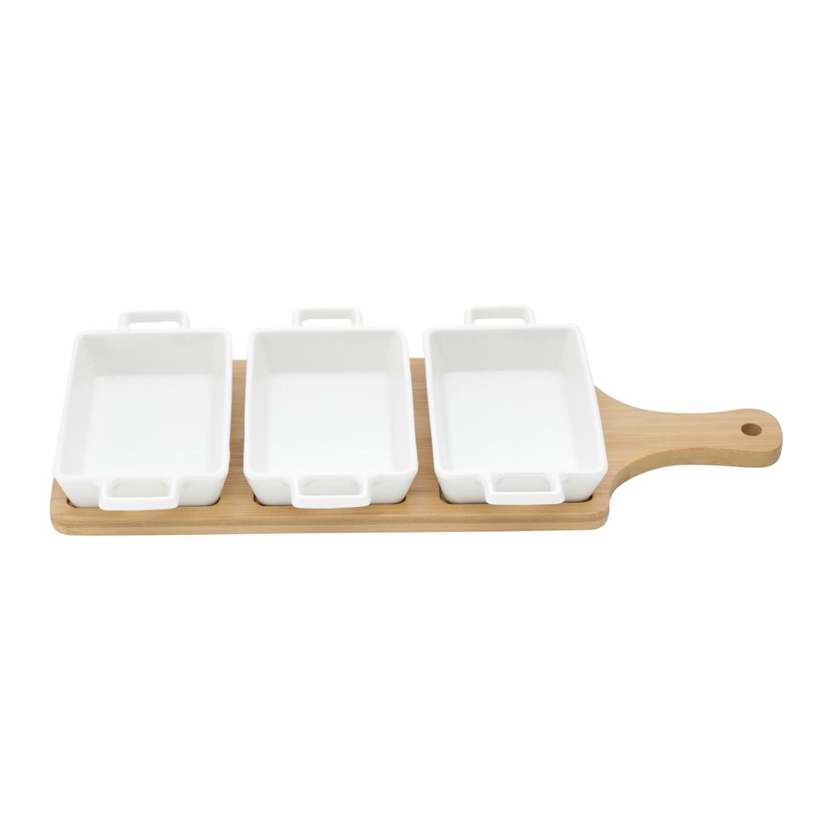 Conjunto de 3 Petisqueiras Porcelana com Tábua de Bambu Bon Gourmet