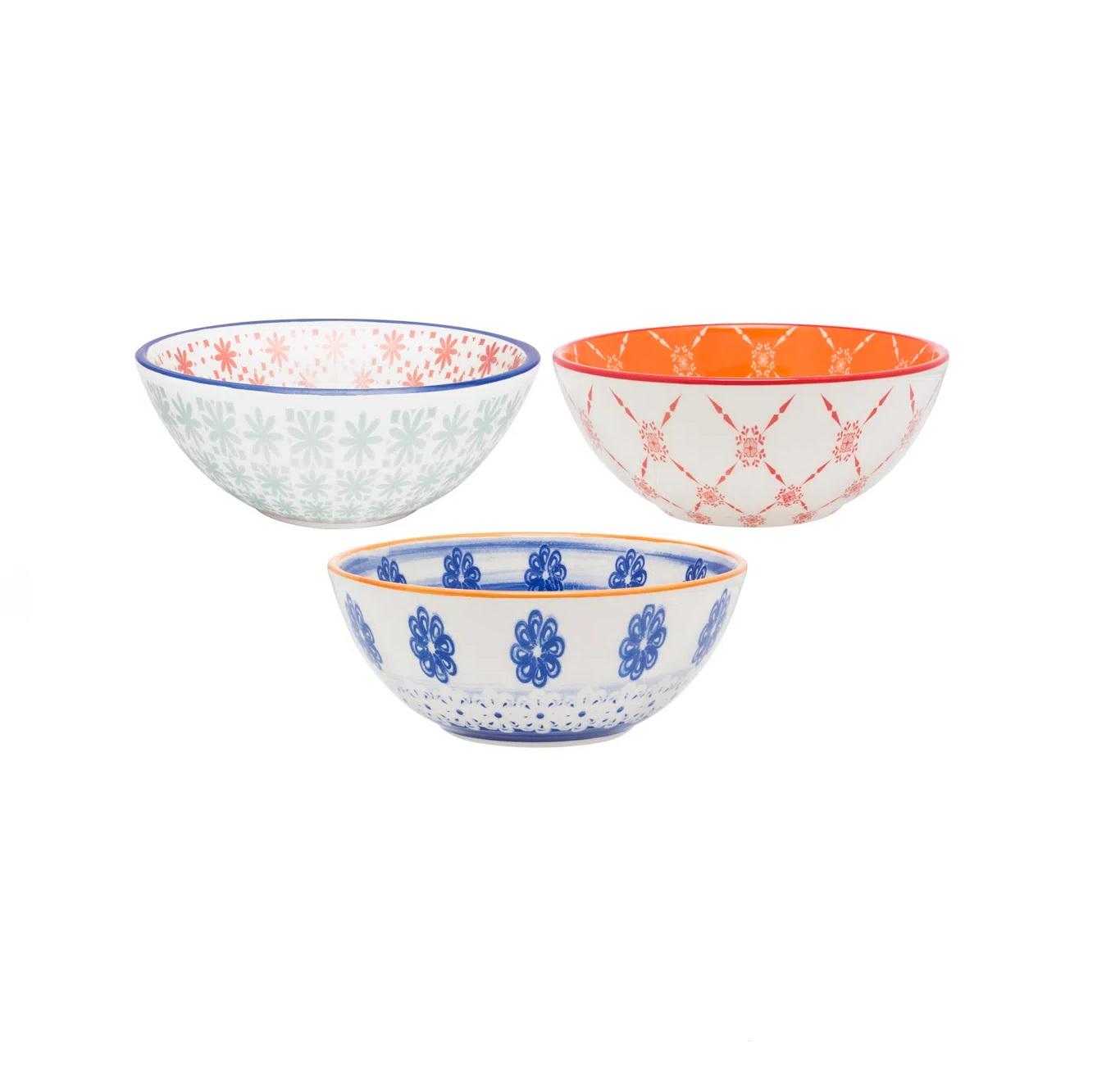 Conjunto de 3 Tigelas Estampadas em Cerâmica 600ml Oxford