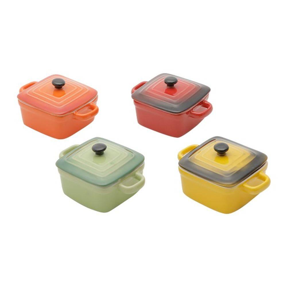 Conjunto de 4 Mini Panelas Quadradas de Porcelana Colorida com Tampa 12cm