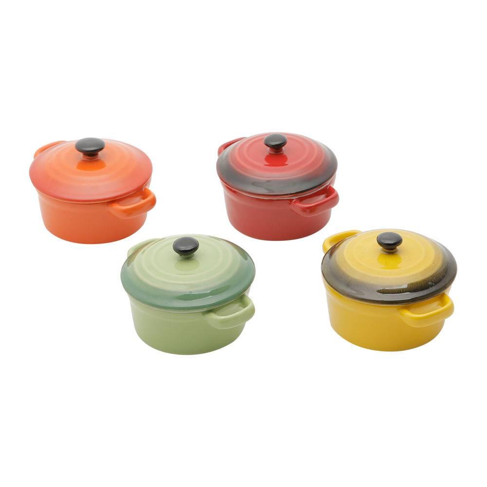Conjunto de 4 Mini Panelas Redondas de Porcelana Colorida com Tampa 12,5cm