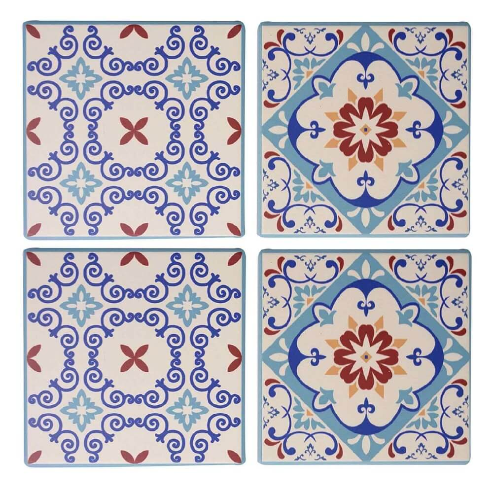 Conjunto de 4 Porta-Copos de Cerâmica Arabescos