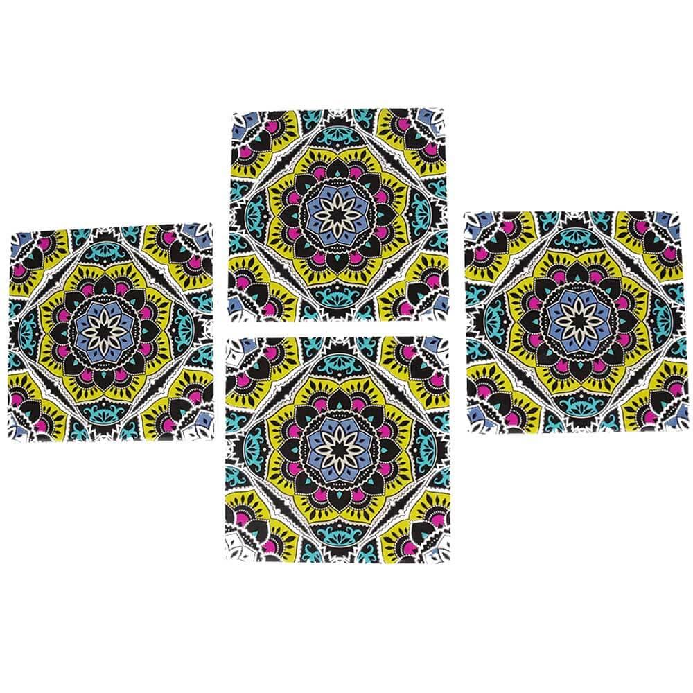 Conjunto de 4 Porta-Copos de Cerâmica Mandala