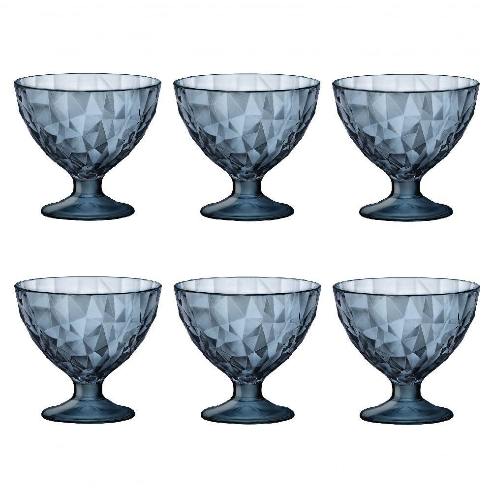 Conjunto de 6 Taça Sobremesa Diamond Azul 220ml