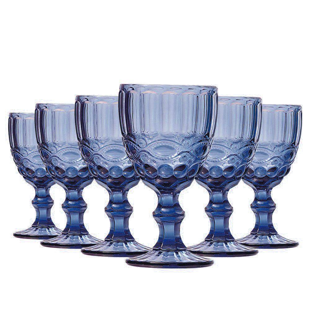 Conjunto de 6 Taças de Água Elegance - Azul 270ml