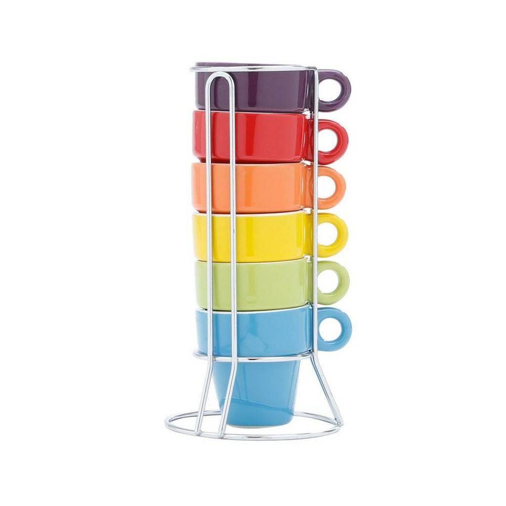 Conjunto de 6 Xícaras de Café Colorido de Porcelana com Suporte 60ml