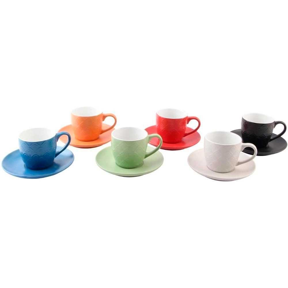 Conjunto de 6 Xícaras de Café com Pires 90ml Colorida Winter