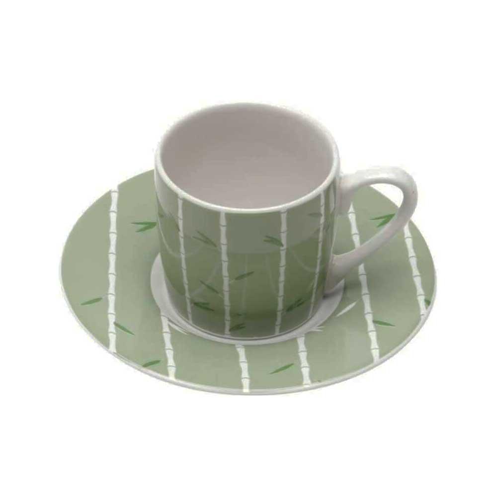 Conjunto de 6 Xícaras de Café com Pires Bambu 90ml