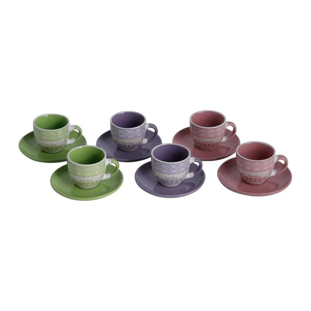 Conjunto de 6 Xícaras de Café com Pires Colors 90ml