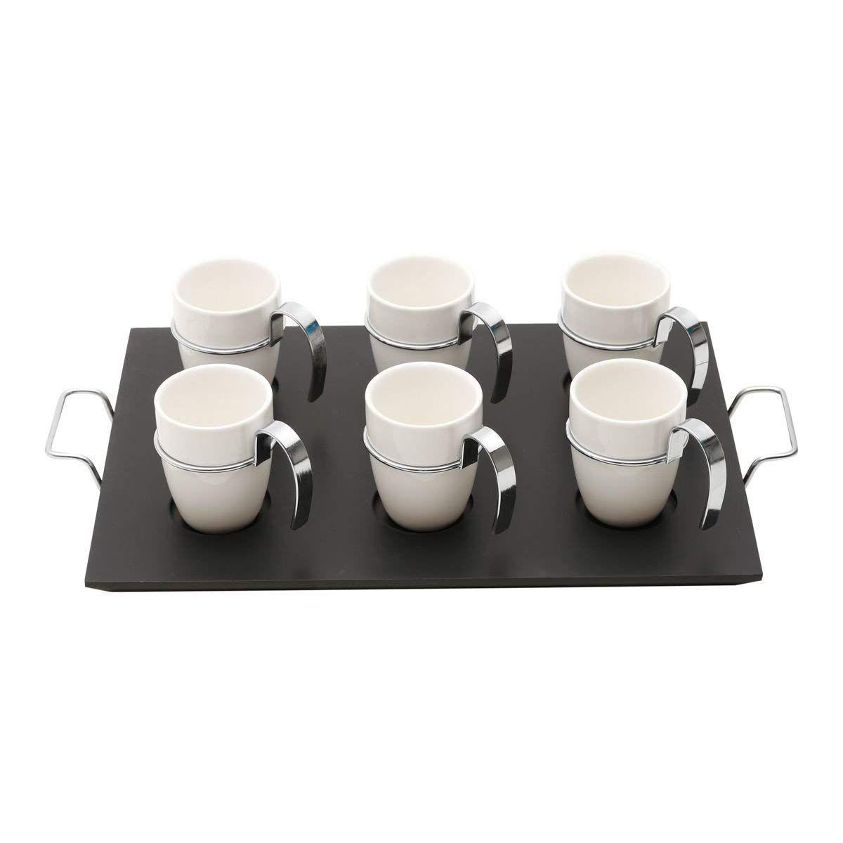 Conjunto de 6 Xícaras de Café de Porcelana com Cabo de Metal 75m
