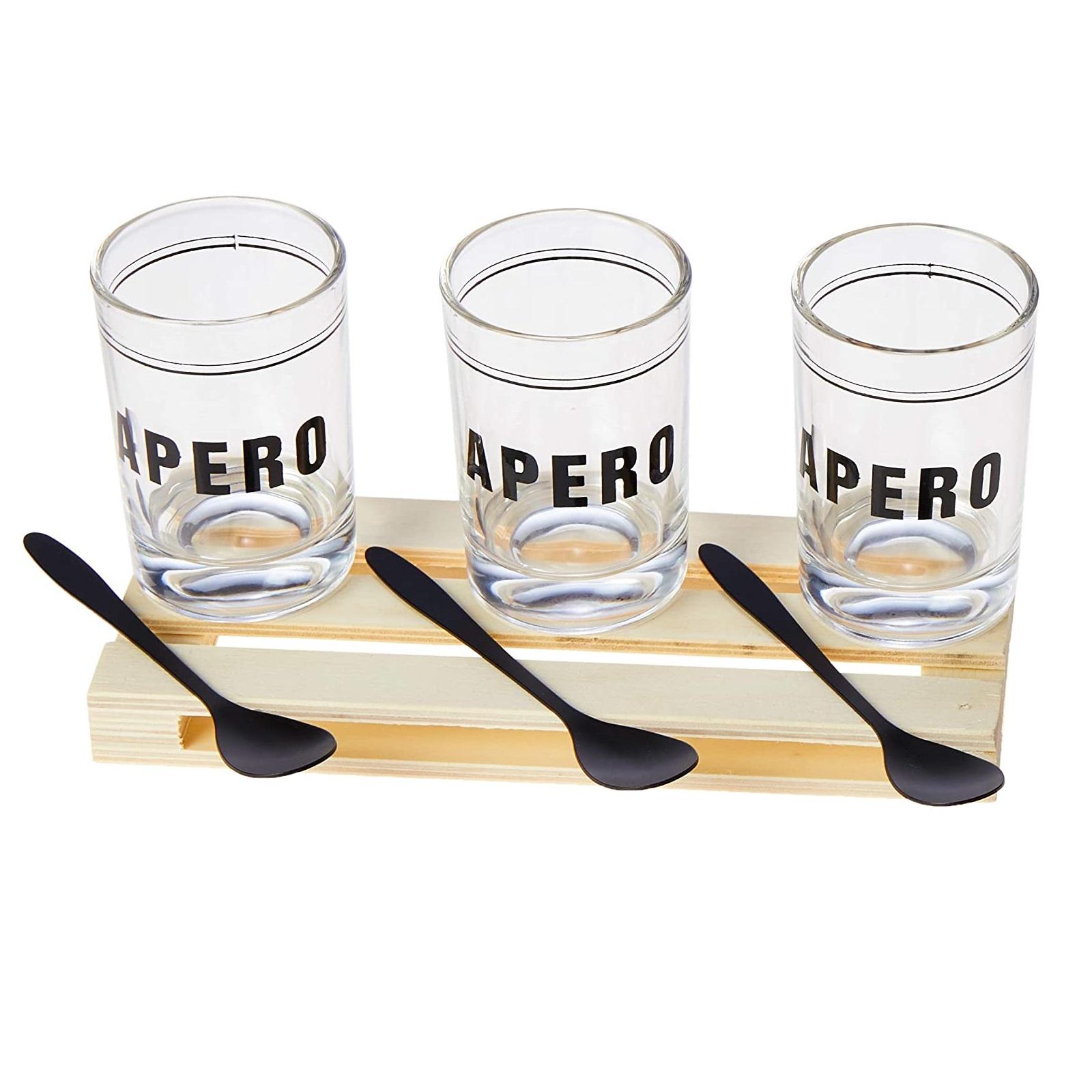 Conjunto de Bandeja de Plástico com 3 Molheiras de Vidro e 3 Colheres