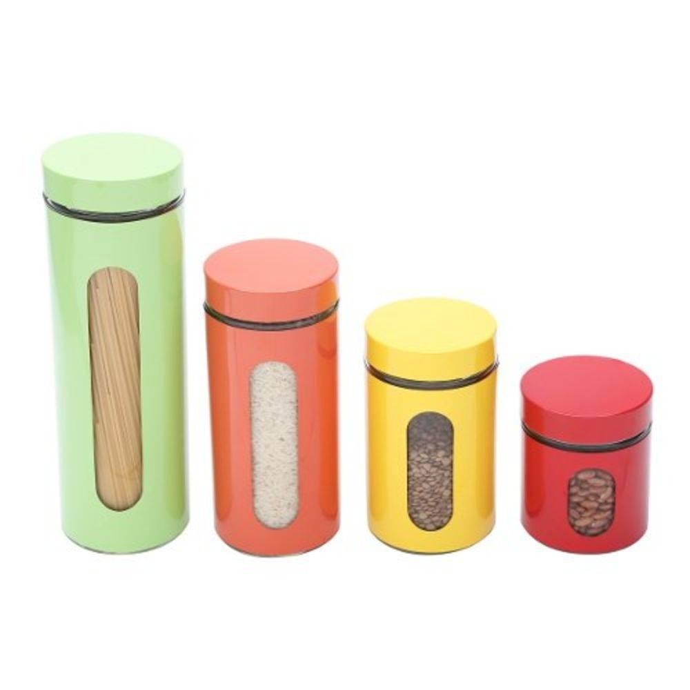 Conjunto de Porta Mantimentos em Inox e Vidro 4 Peças Colors