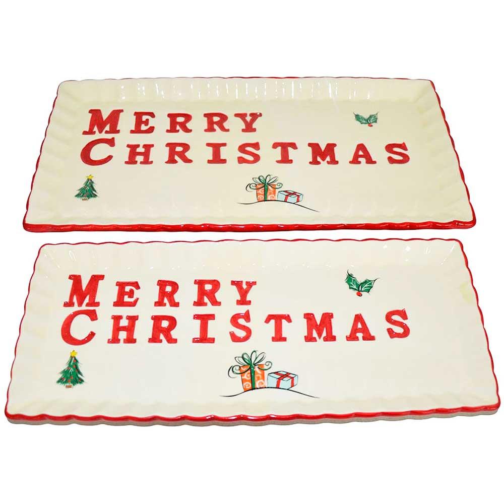 Conjunto de Travessa de Natal com 2 Peças - Merry Christmas
