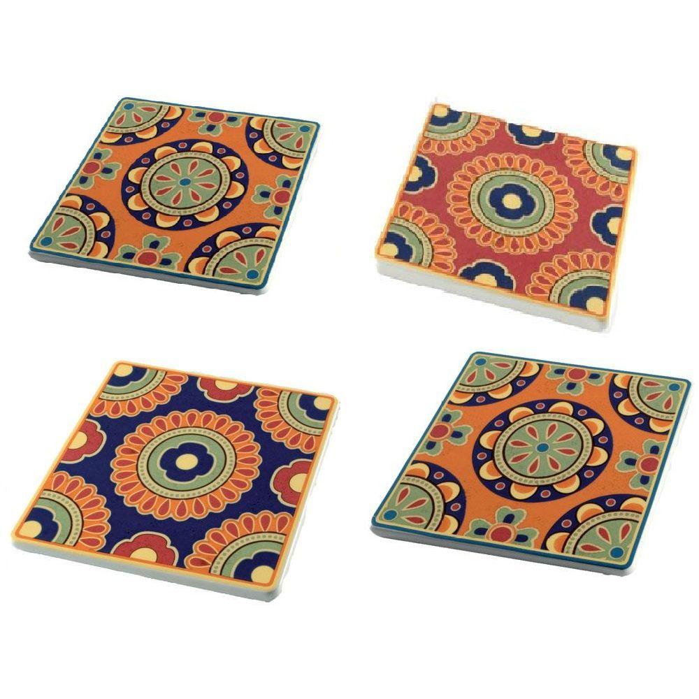 Conjunto Descanso de Panela Mexicano em Cerâmica Colorido 4 Peças