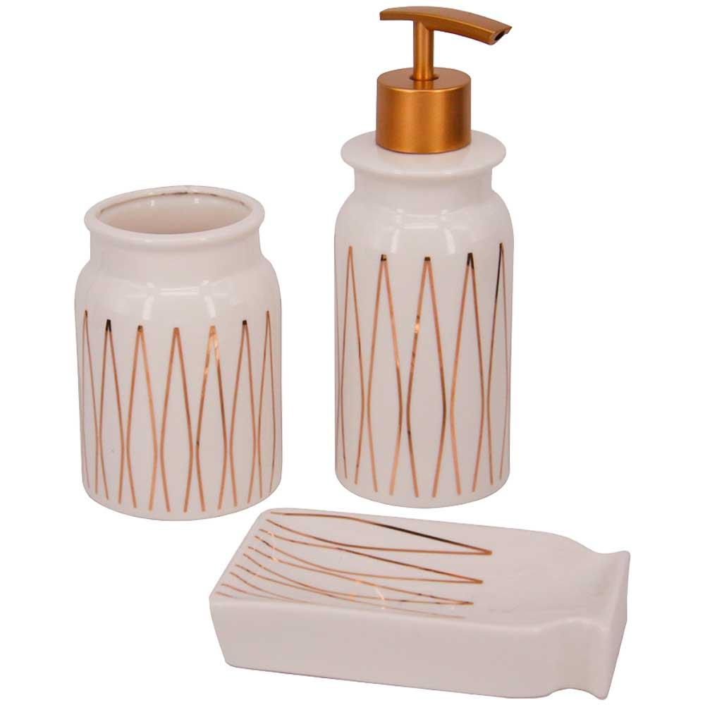 Conjunto para Banheiro em Cerâmica 3 Peças - Branco e Dourado