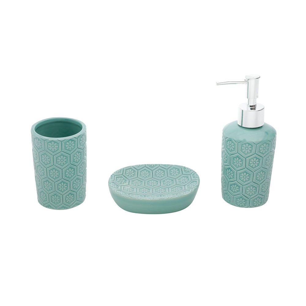 Conjunto para Banheiro em Cerâmica 3 Peças Losangle Flower Verde