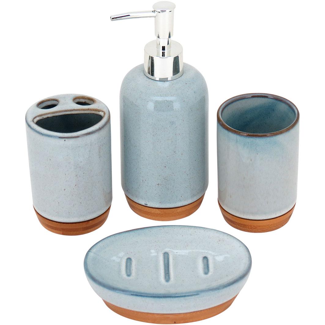 Conjunto para Banheiro em Cerâmica 4 Peças Azul com Base de Bambu