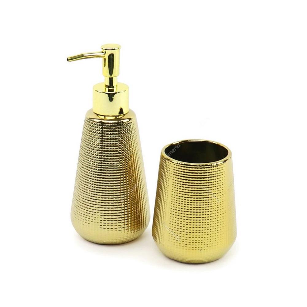 Conjunto para Banheiro em Cerâmica Dourado 2 Peças