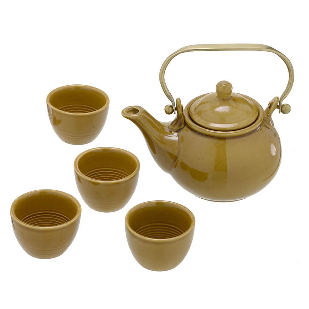 Conjunto Para Chá em Cerâmica 5 Peças