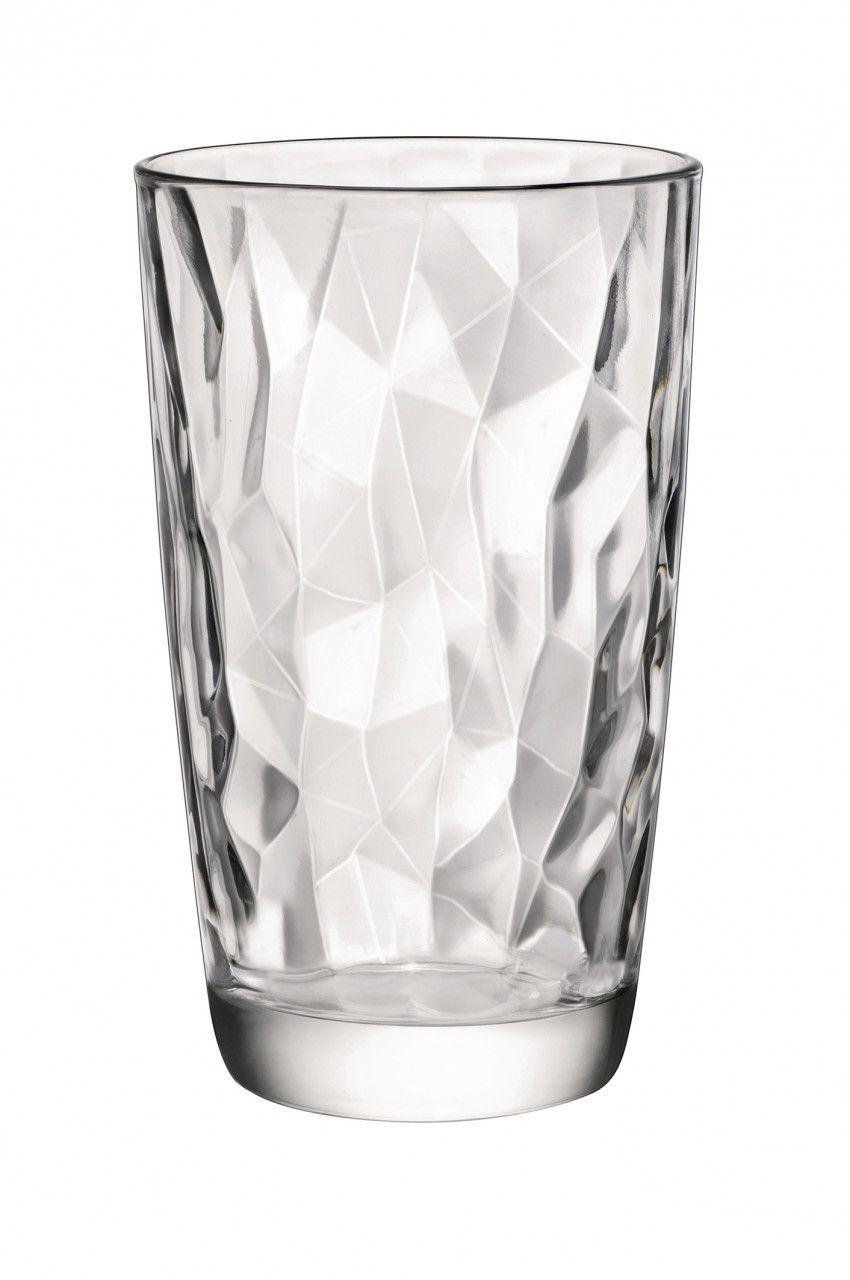 Copo Long Drink Diamond Vidro Transparente 470ml