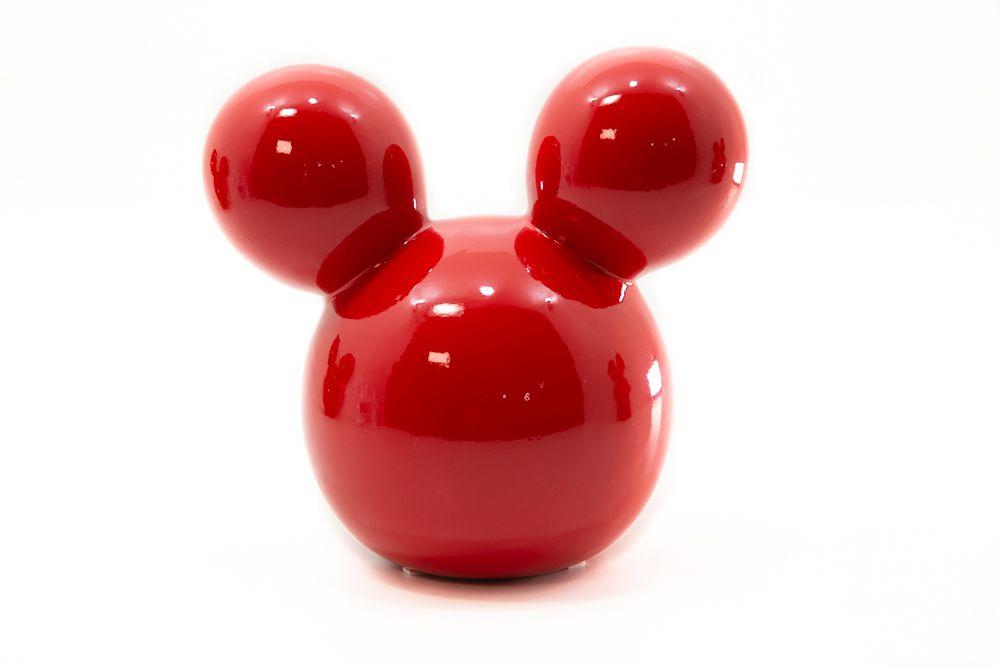 Enfeite Cabeça do Mickey Decorativo Pequeno Vermelho 19cm