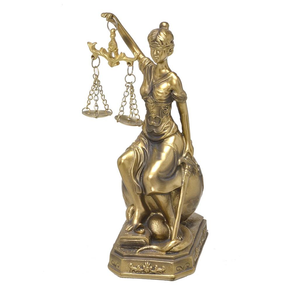 Escultura Dama da Justiça Decorativa com Balança Dourada 18cm