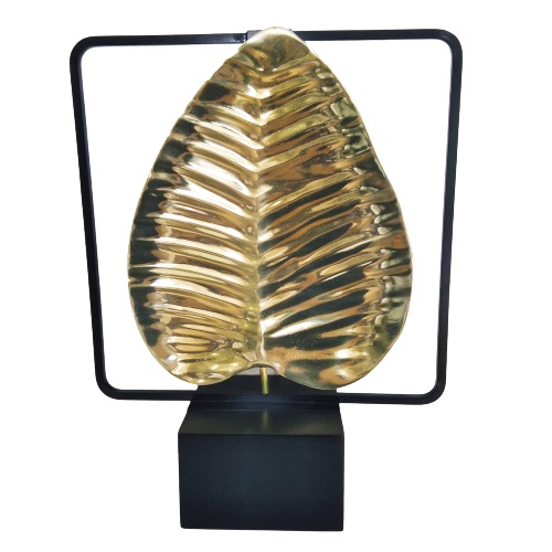 Escultura de Mesa Folha em Metal Dourado