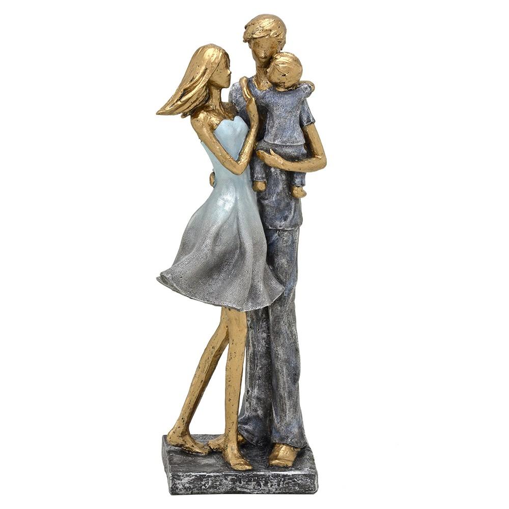 Escultura Decorativa Casal com Filho em Resina Dourada