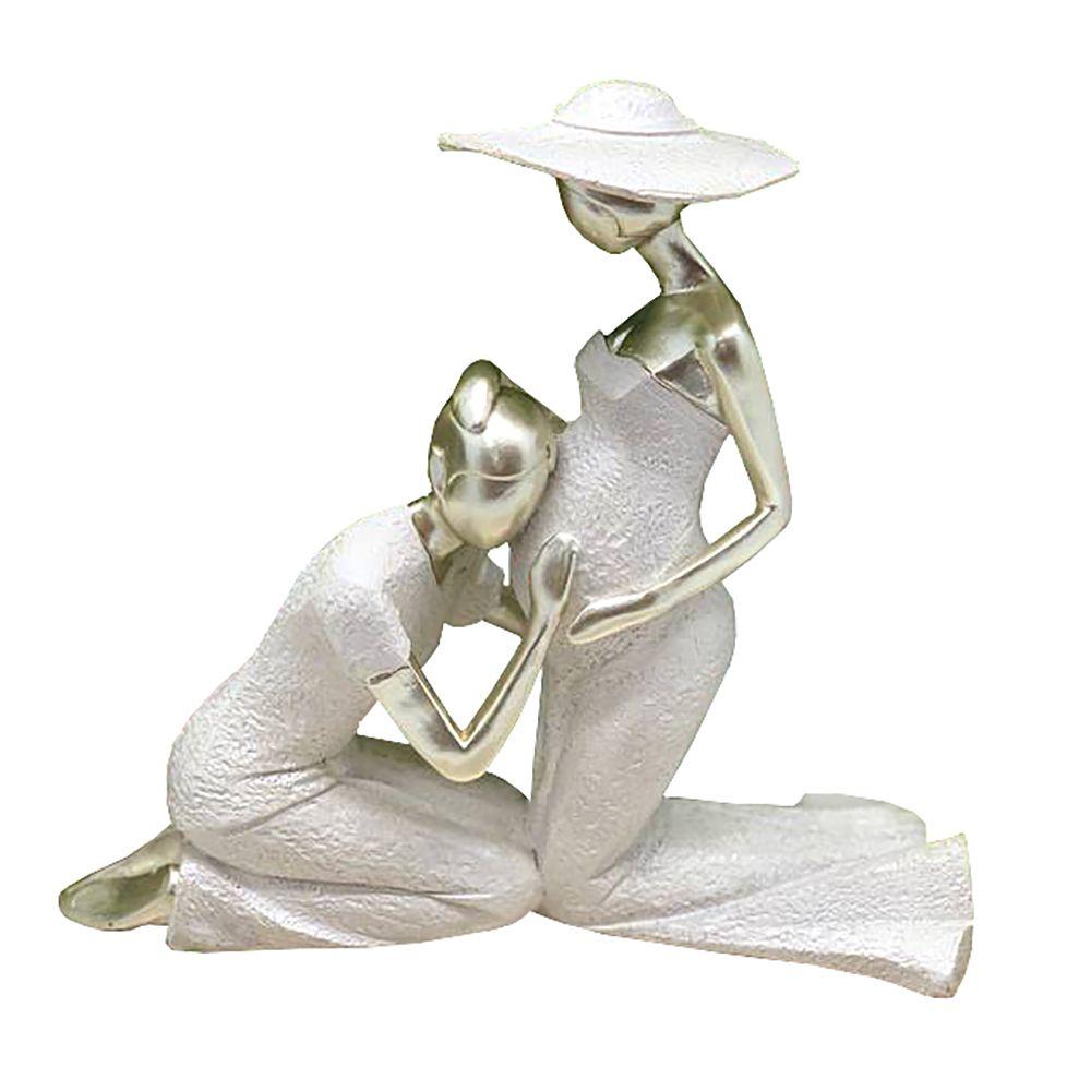 Escultura Decorativa em Resina Casal Gestante Ajoelhados 20cm