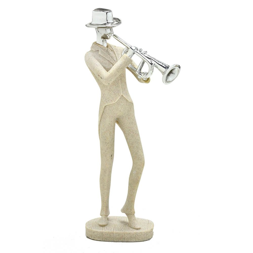 Escultura Decorativa em Resina Músico com Trompete