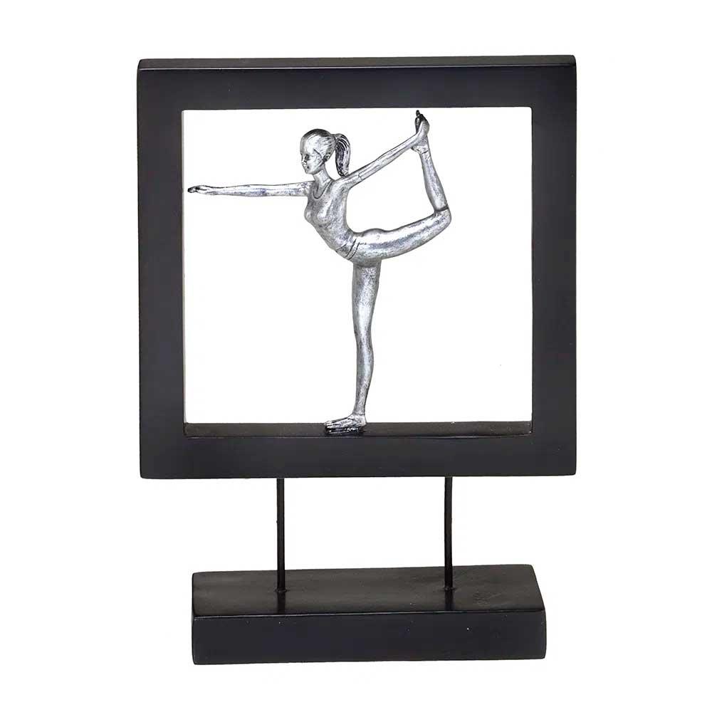 Escultura Decorativa em Resina Prata Mulher Yoga Postura do Dançarino