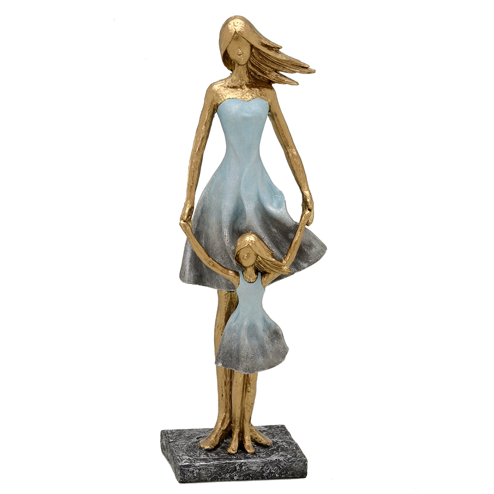 Escultura Decorativa Família Mãe com Filha em Resina