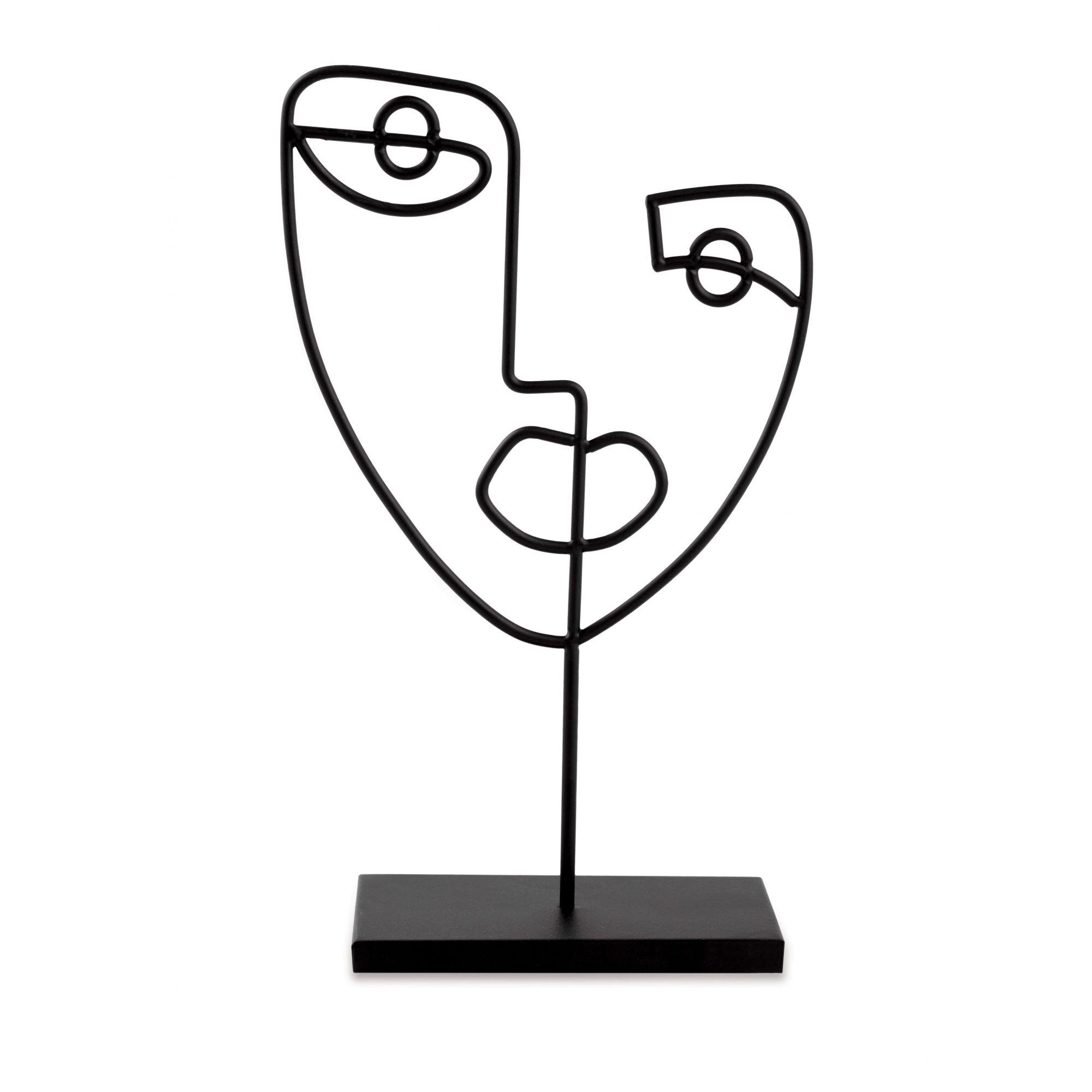 Escultura Face em Metal Preto Homem