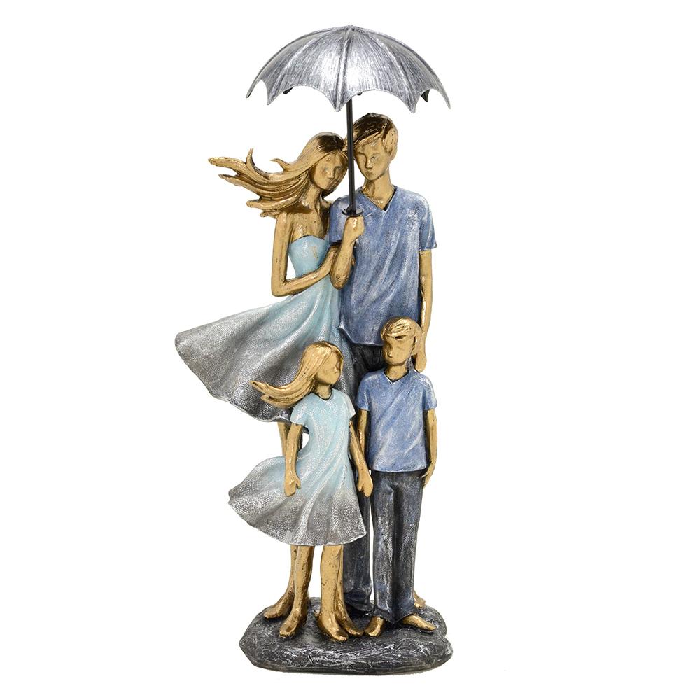 Escultura Família Decorativa em Resina Dourada e Azul Pais e Filhos