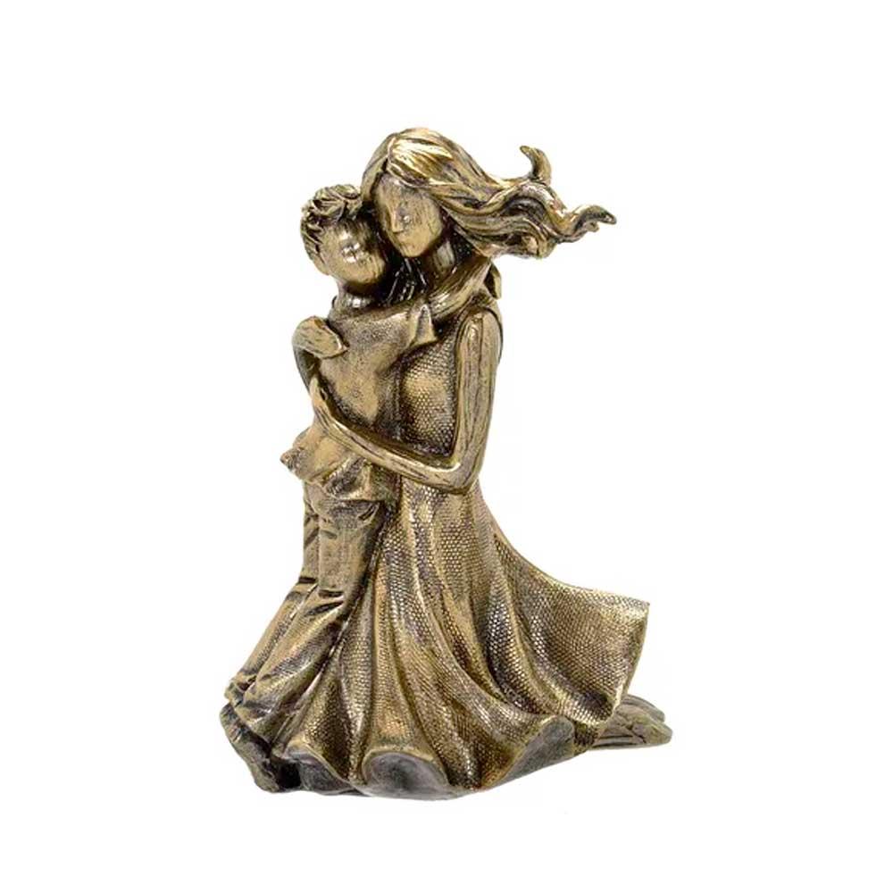 Escultura Família Decorativa em Resina Dourada Mãe e Filho