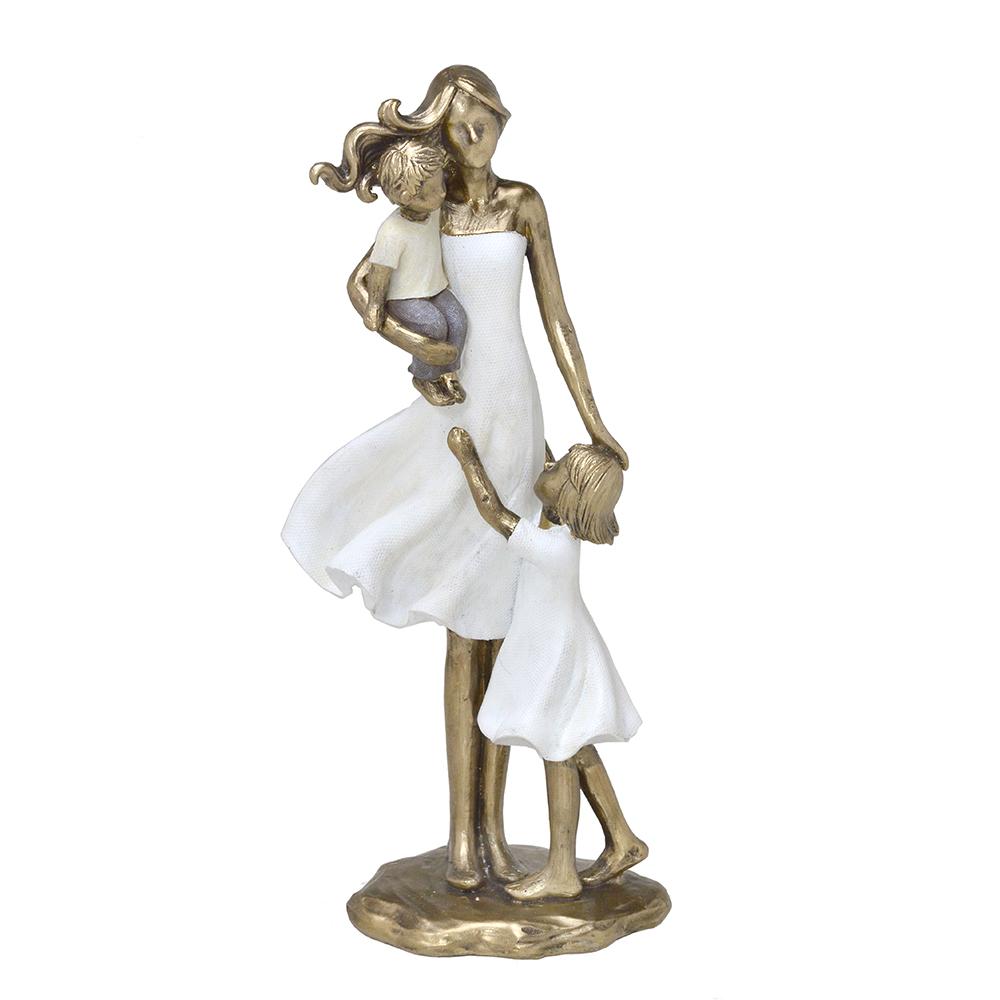 Escultura Família Decorativa em Resina Dourada Mãe, Filho e Filha