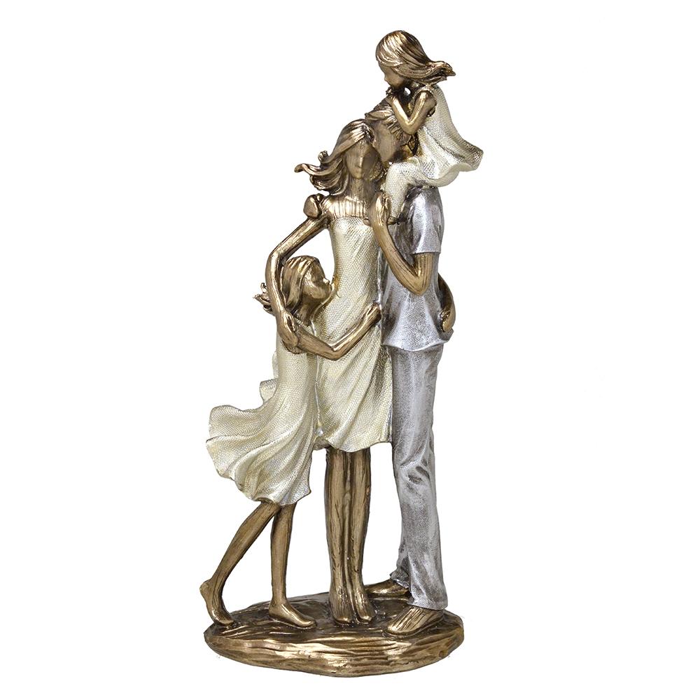 Escultura Família Decorativa em Resina Dourada Mãe, Pai e Filhas