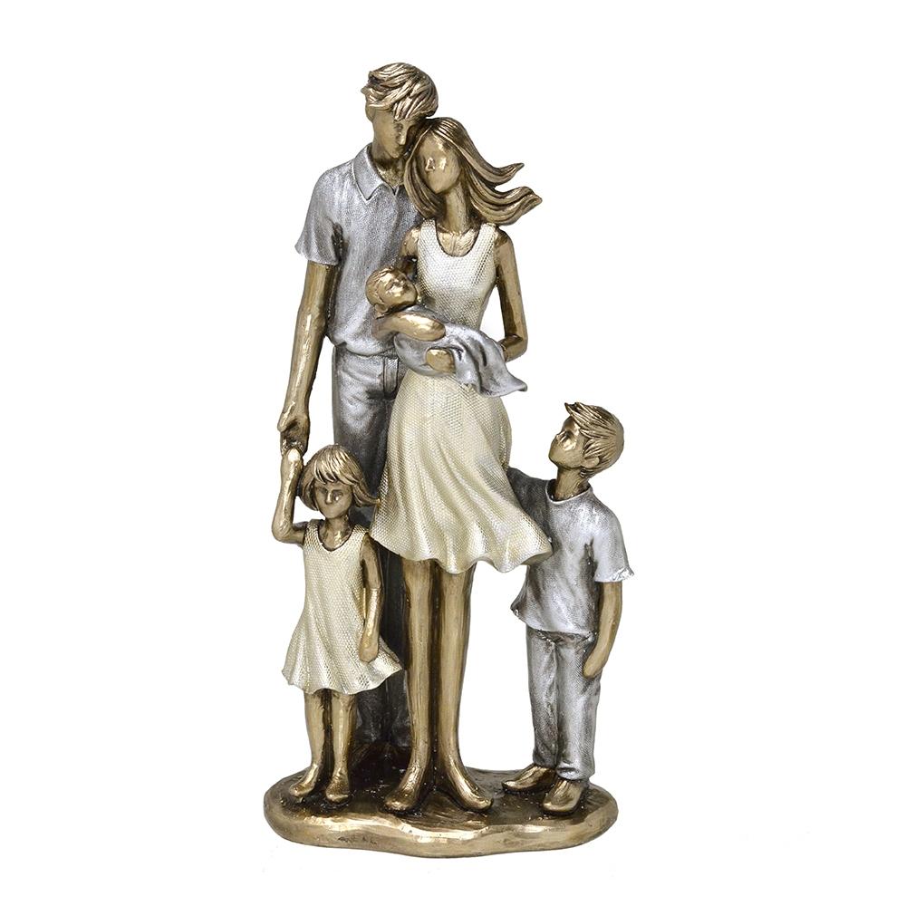 Escultura Família Decorativa em Resina Dourada Mãe, Pai, Filho, Filha e Bebê