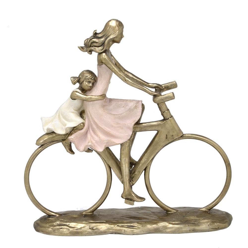 Escultura Família Decorativa em Resina Mãe e Filha na Bicicleta