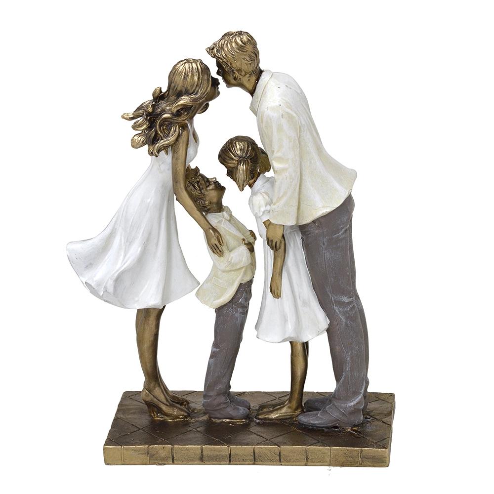 Escultura Família Decorativa em Resina Mãe, Pai e Casal de Filhos