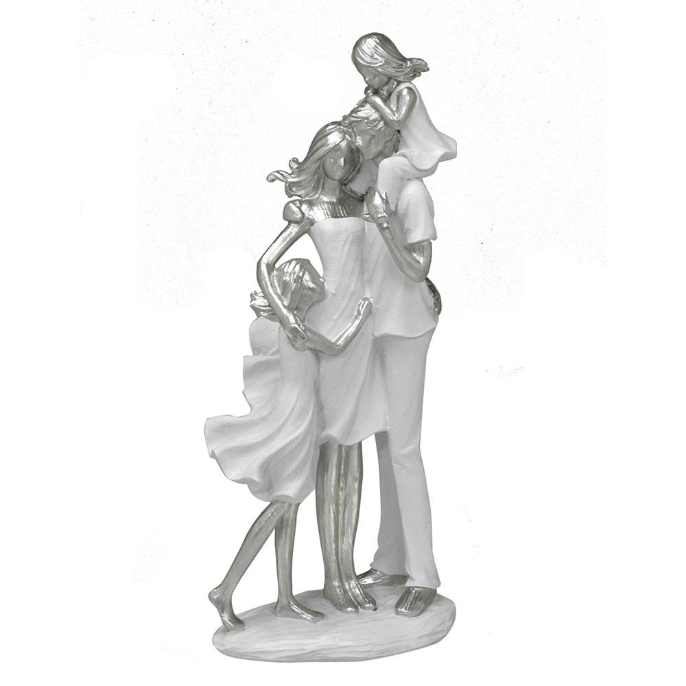 Escultura Família Decorativa em Resina Mãe, Pai e Filhas